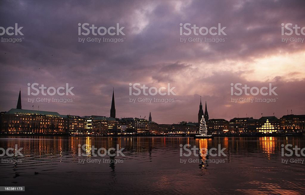 Alster lake, Hamburg, Dezember royalty-free stock photo