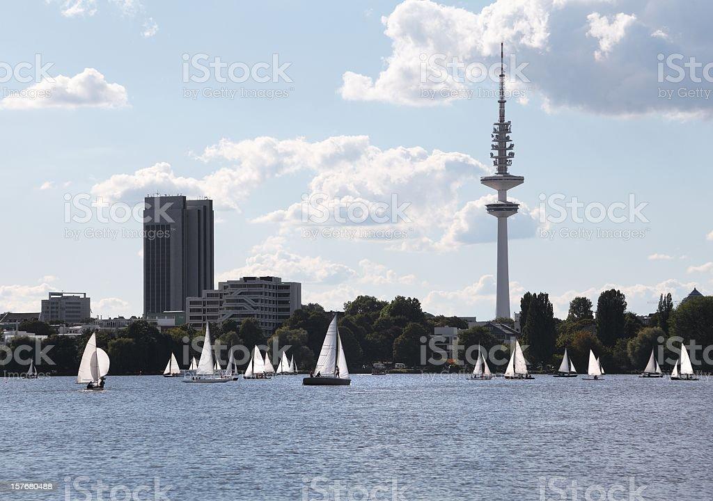 alster lake hamburg with sailing boats in summer royalty-free stock photo