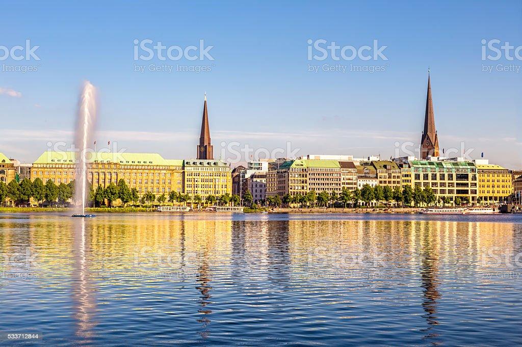 Alster lake in Hamburg stock photo