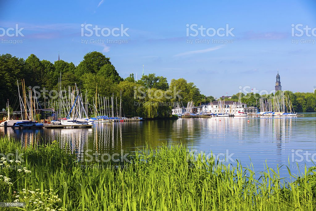 alster lake in the morning stock photo