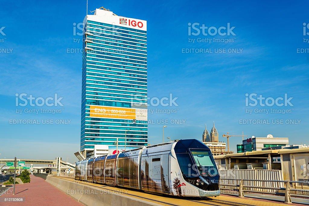 Alstom Citadis tram in Jumeirah, Dubai stock photo