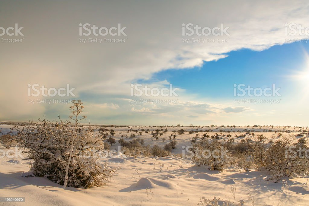 RURAL LANDSCAPE WINTER. Alta Murgia National Parks:snowy hills.-(Apulia) ITALY- stock photo