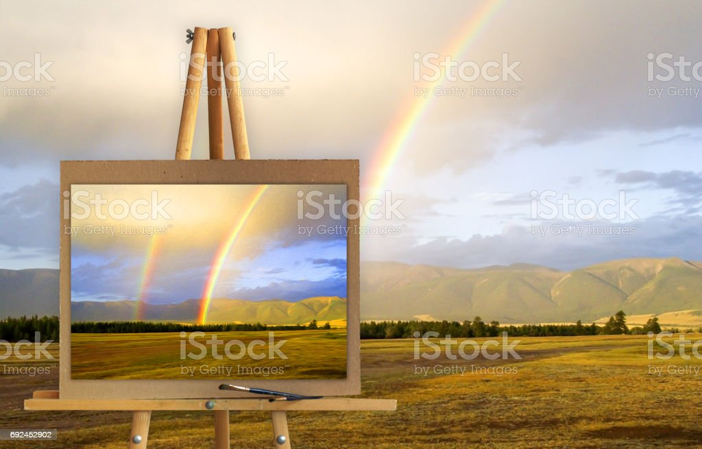 Altai landscape, double rainbow after the rain in the mountains stock photo