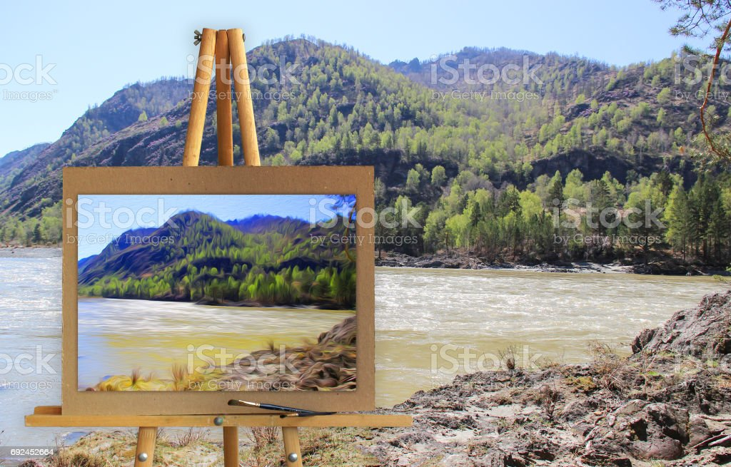 Altai Mountains on a canvas on a landscape. stock photo