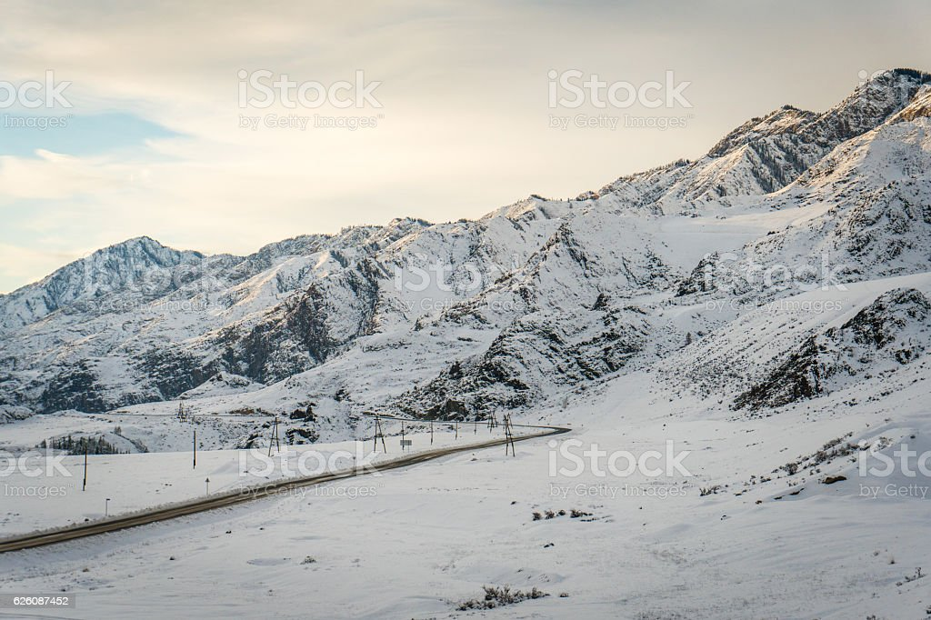 Altai Mountains, road, winter stock photo