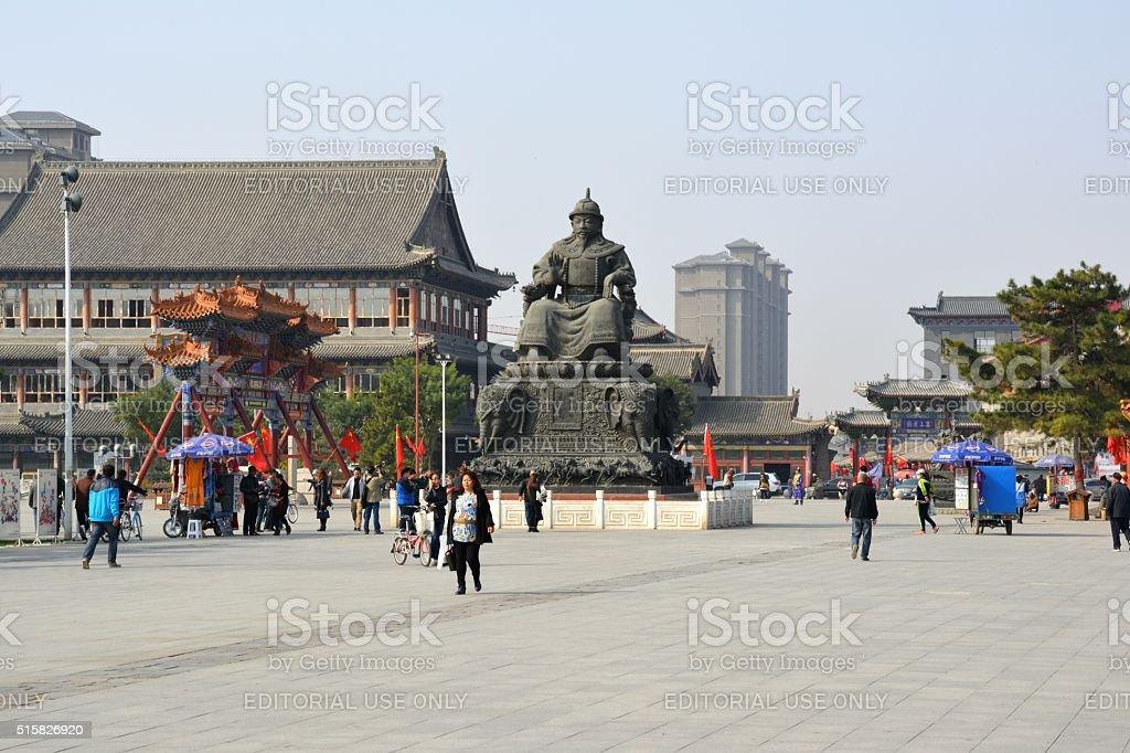 Altan Khan statue at sunset, Hohhot Inner Mongolia stock photo