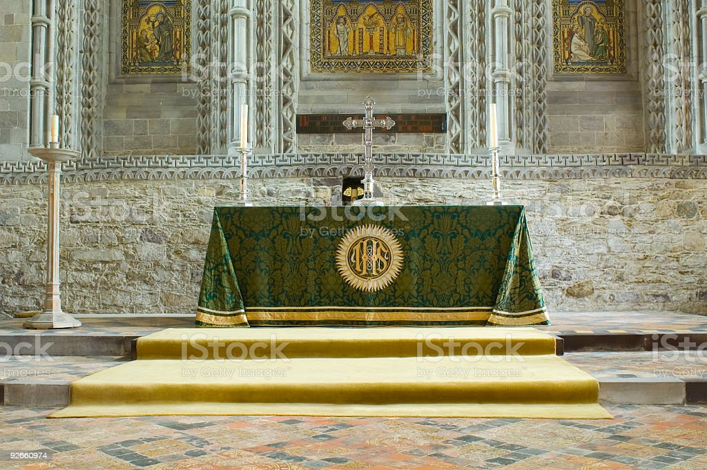 Altar and ornate crucifix royalty-free stock photo