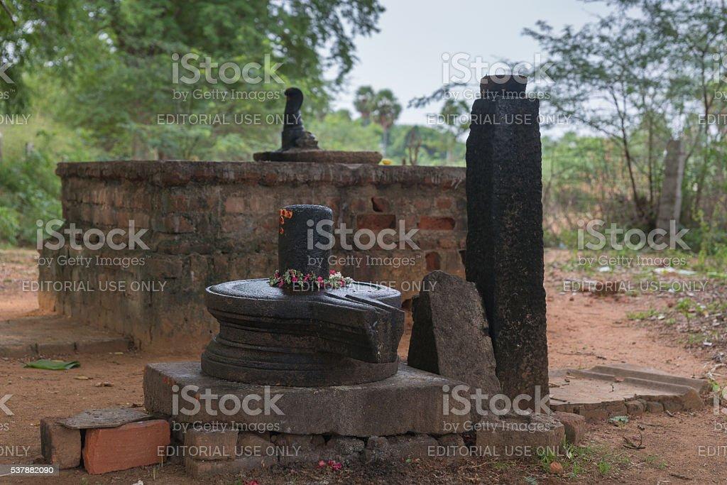 Altar and Shivalingam at forest shrine in Kothamangalam. stock photo