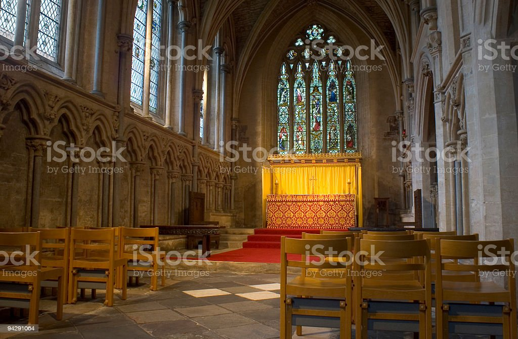 Altar bathed in golden light stock photo