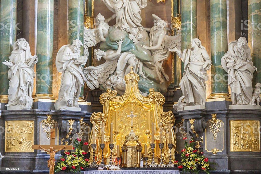 Altar in basilica - Jasna Gora Sanctuary, Czestochowa, Poland. stock photo