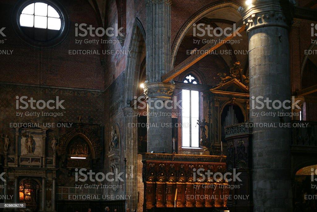 altar in Basilica Santa Maria Gloriosa dei Frari stock photo