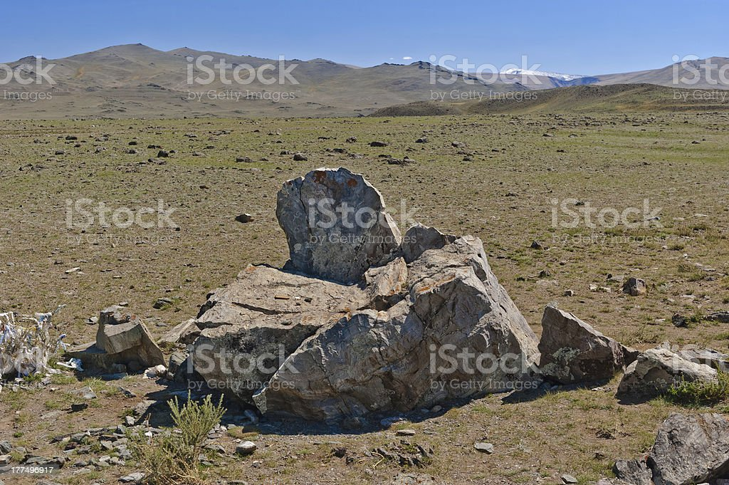Altar in desert areas to the mountains royalty-free stock photo