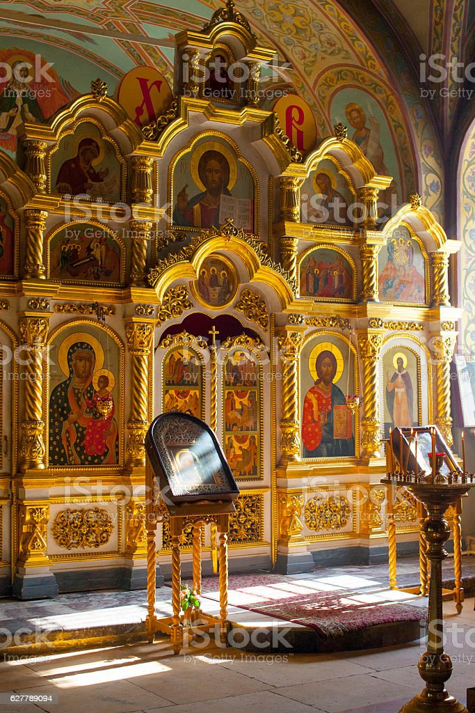 altar in russian church stock photo