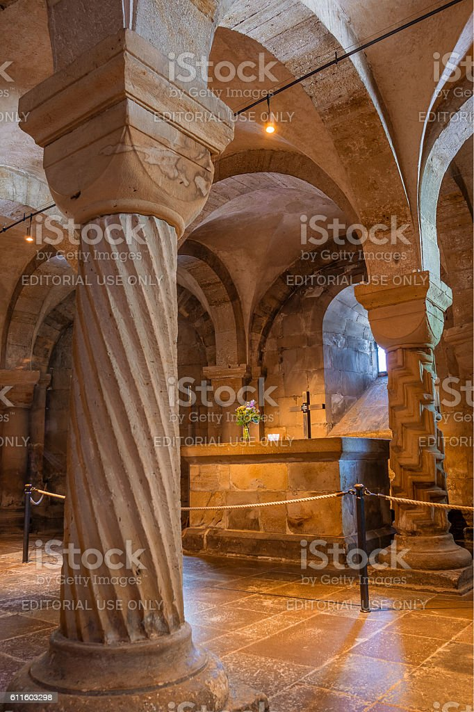 Altar in the crypt of Lund cathedral stock photo