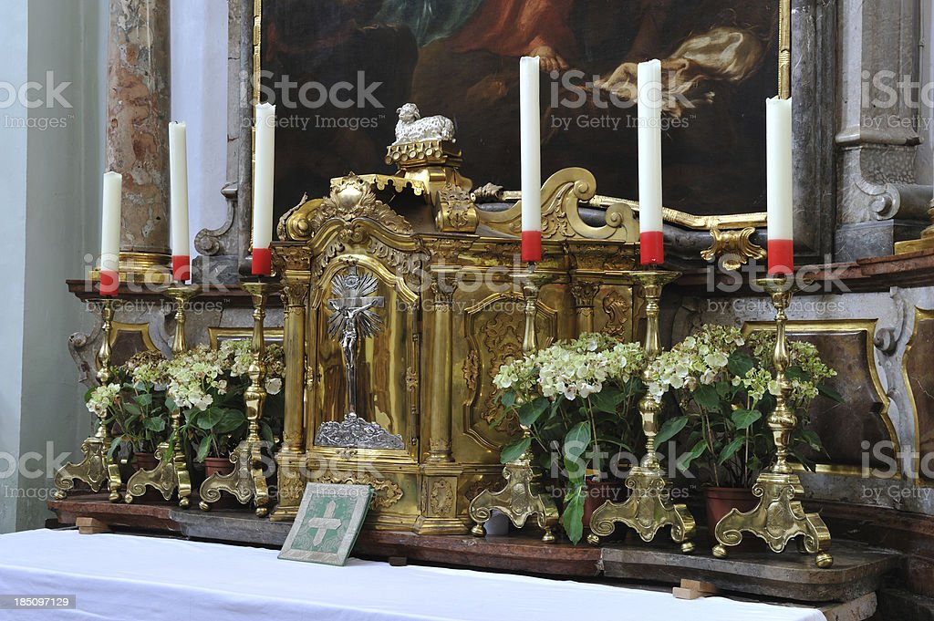 Altar inside Stift St. Peter Abbey royalty-free stock photo