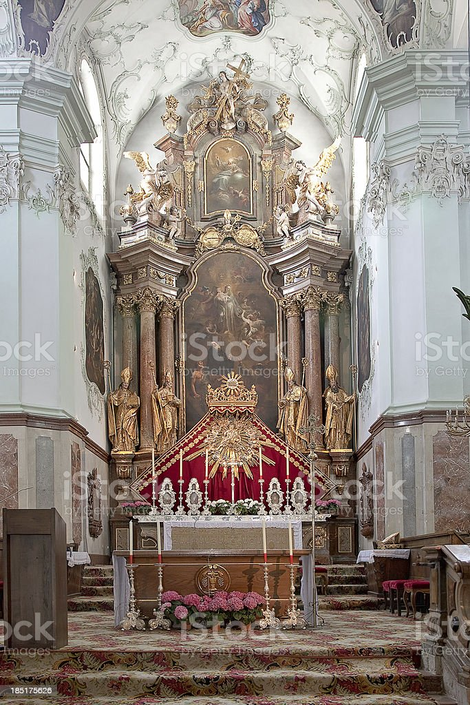Altar is in the cathedral of saint Peter stock photo
