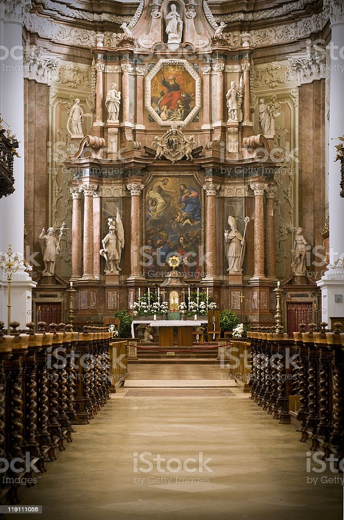 Altar of an Abbey stock photo
