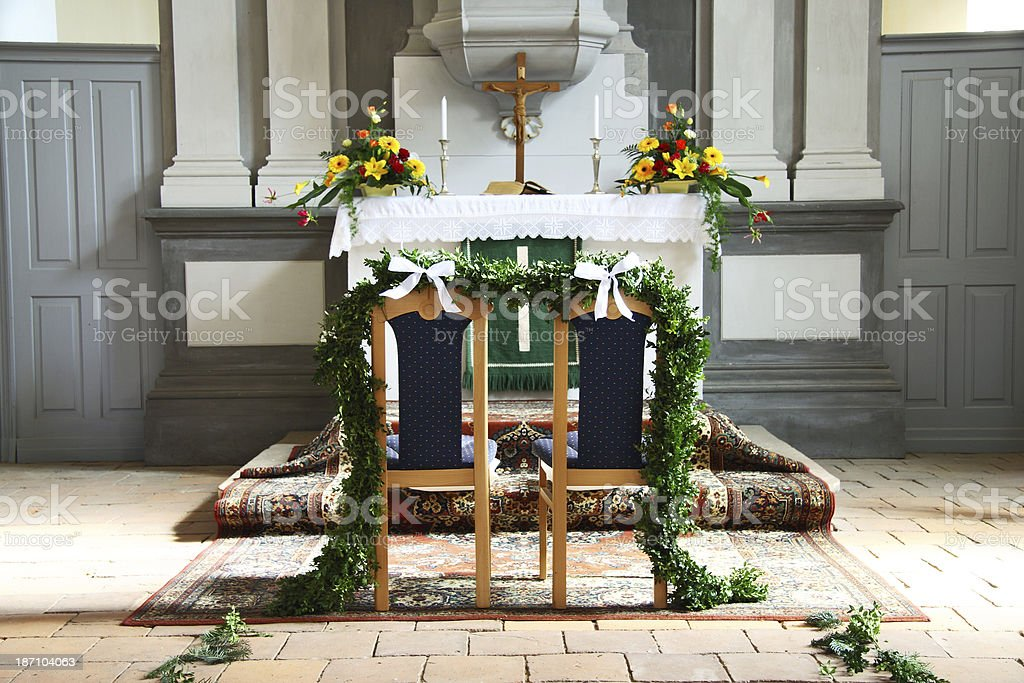 altar of chapel decorated for wedding royalty-free stock photo