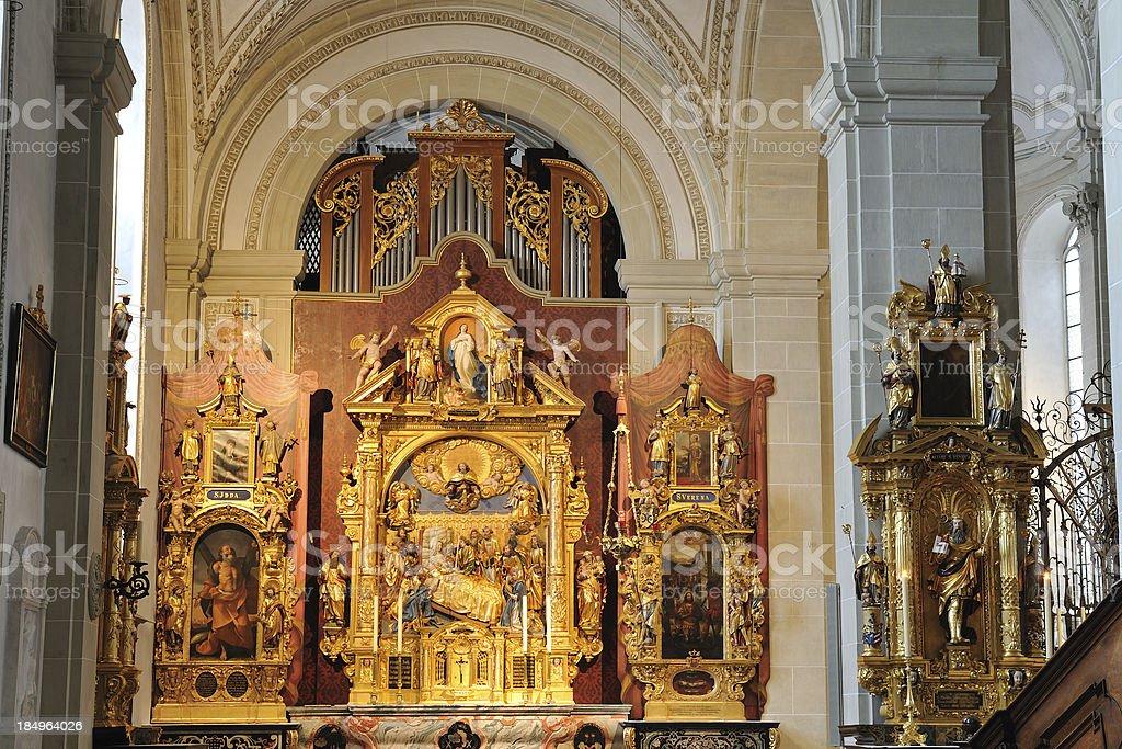 Altar of Hofkirche in Luzern royalty-free stock photo