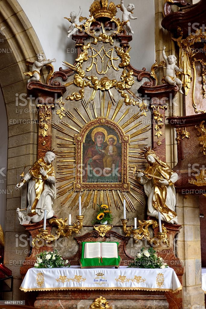Altar of Mary  in the fortified church of Kirchschlag stock photo