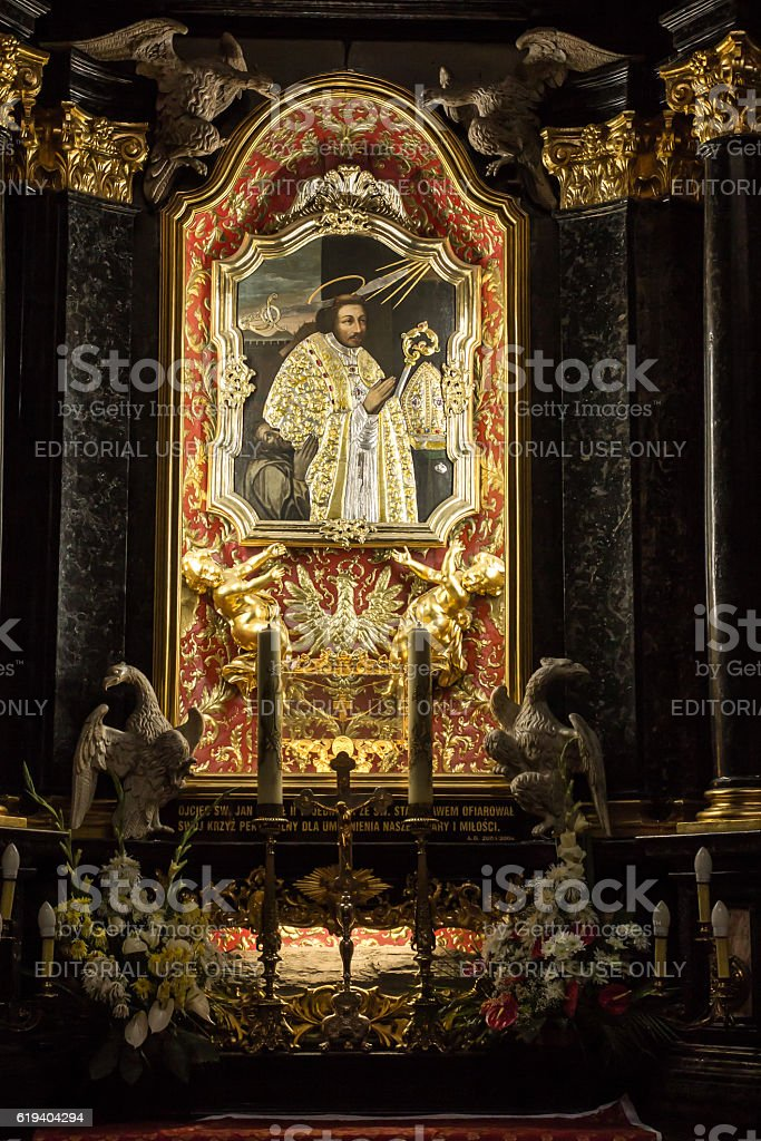Altar of St. Stanislaus  in the Church  on Skalka, Krakow stock photo
