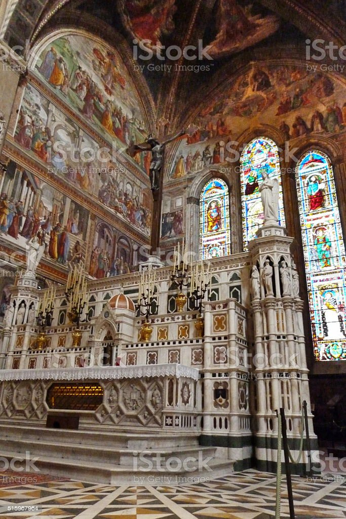 Altar of the church of Santa Maria Novella, Florence stock photo