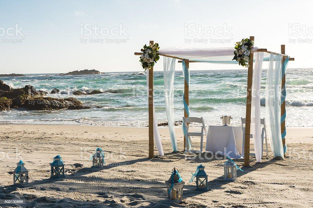 Altar on the beach ready for wedding ceremony stock photo