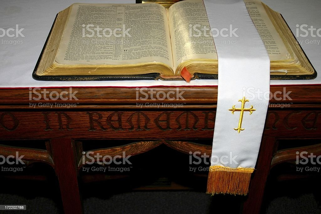 Altar Table with Bible royalty-free stock photo