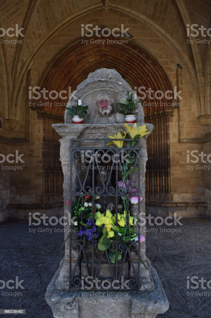 Altar under the belfry of a church. stock photo