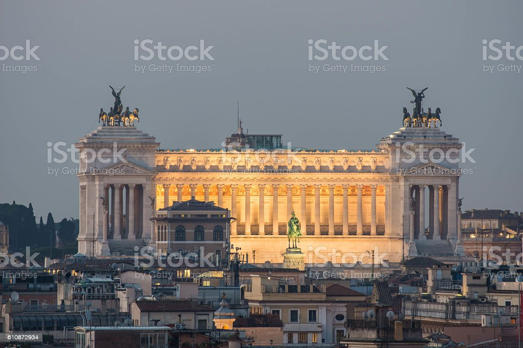 Altare della Patria, as seen from Pincio, Rome, Italy stock photo