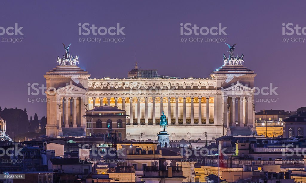 Altare della Patria as seen from Pincio, Rome, Italy stock photo