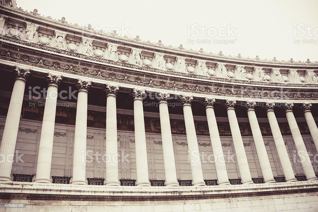 Altare della Patria, series of pillars stock photo