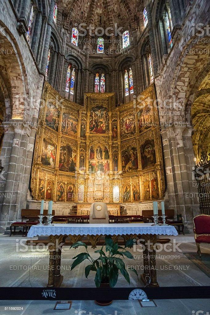 Altarpiece of Santa Catalina, Cathedral in Avila, Spain stock photo