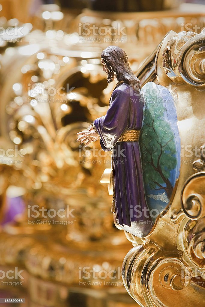 Altarpiece or cartela of high relief polychrome docked stock photo
