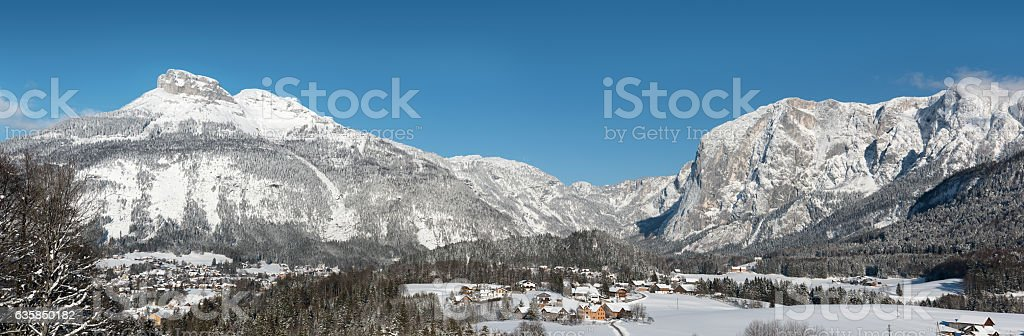 Altausee with Mountains Loser and Trisselwand, Winter Panorama, Austrian Alps stock photo