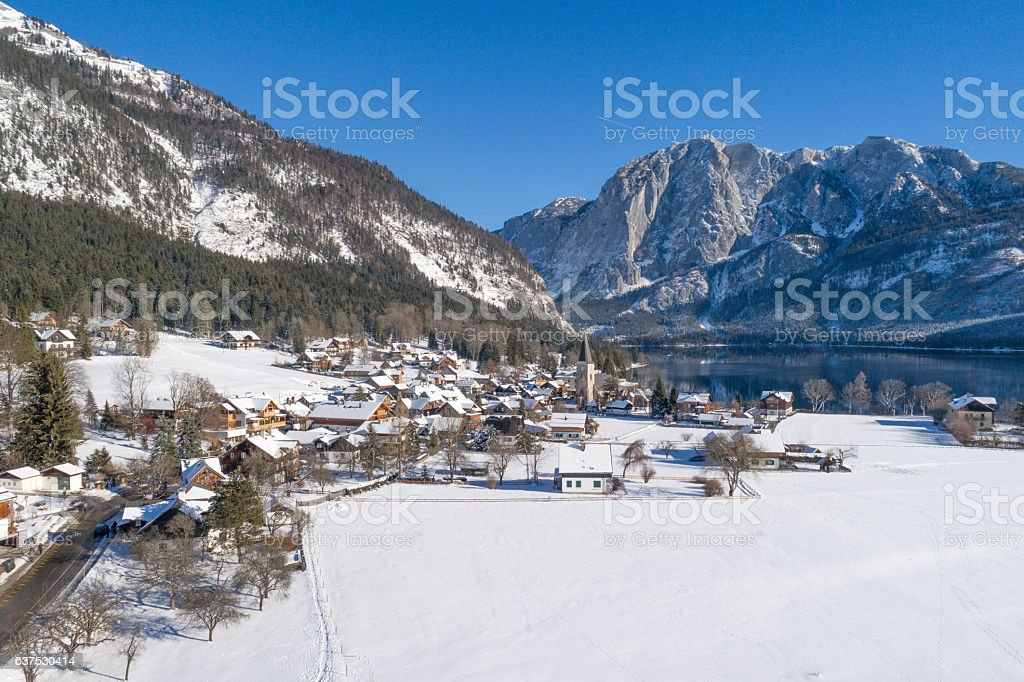 Altaussee a beautiful Mountain Village covered with Snow, Austria stock photo