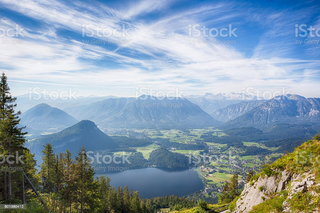 Altaussee and the Altauseer Lake from the Loser mountain stock photo