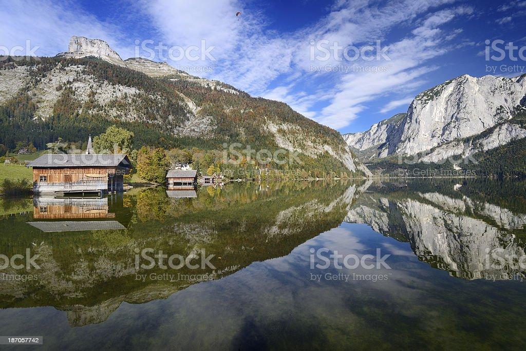 Altaussee, Salzkammergut - Lake Reflection Panorama stock photo