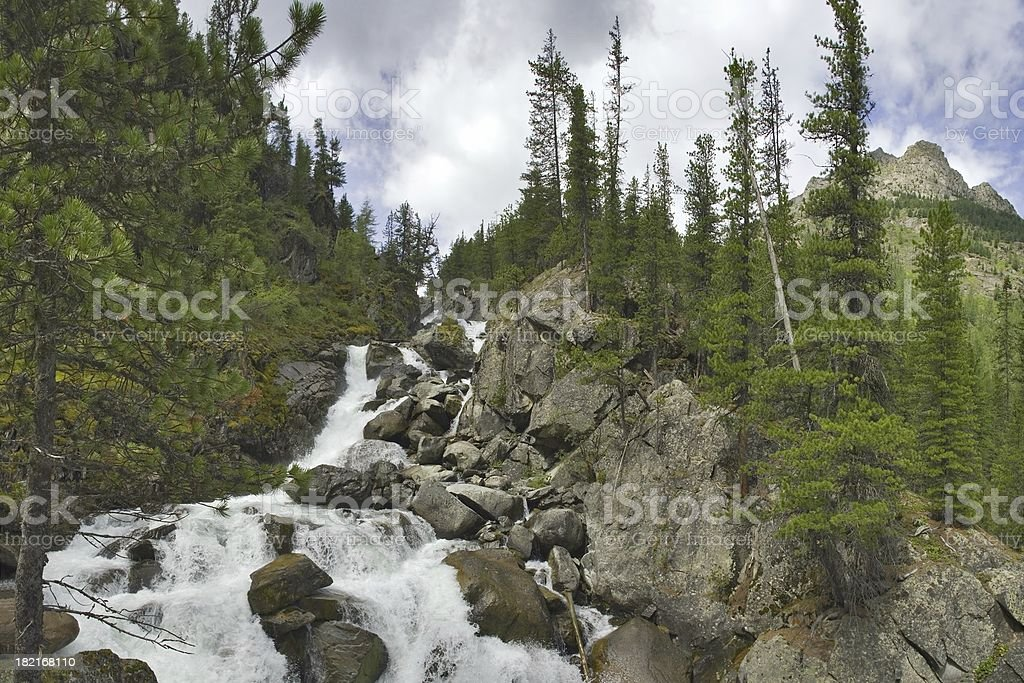 Altay motives. Ioldo waterfall. Panorama. royalty-free stock photo