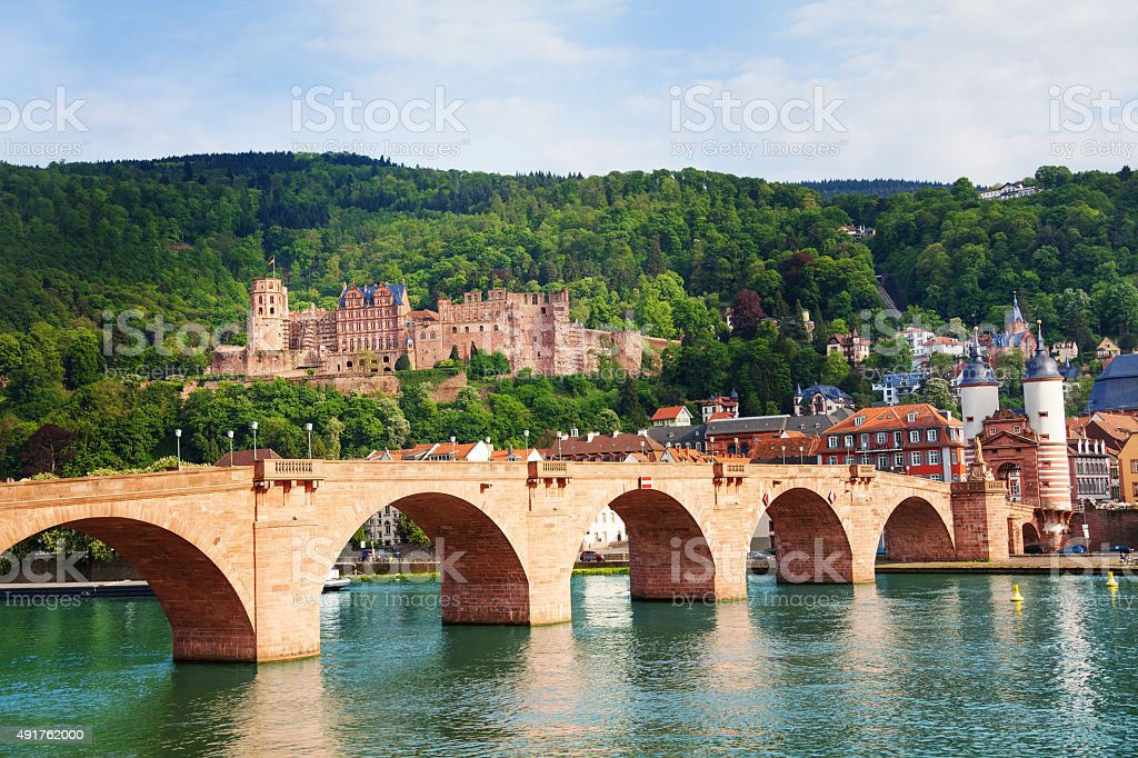 Alte Brucke, castle, Neckar river in Heidelberg stock photo