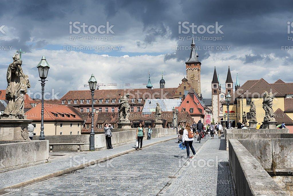 Alte Mainbrücke Lower Franconia Germany stock photo