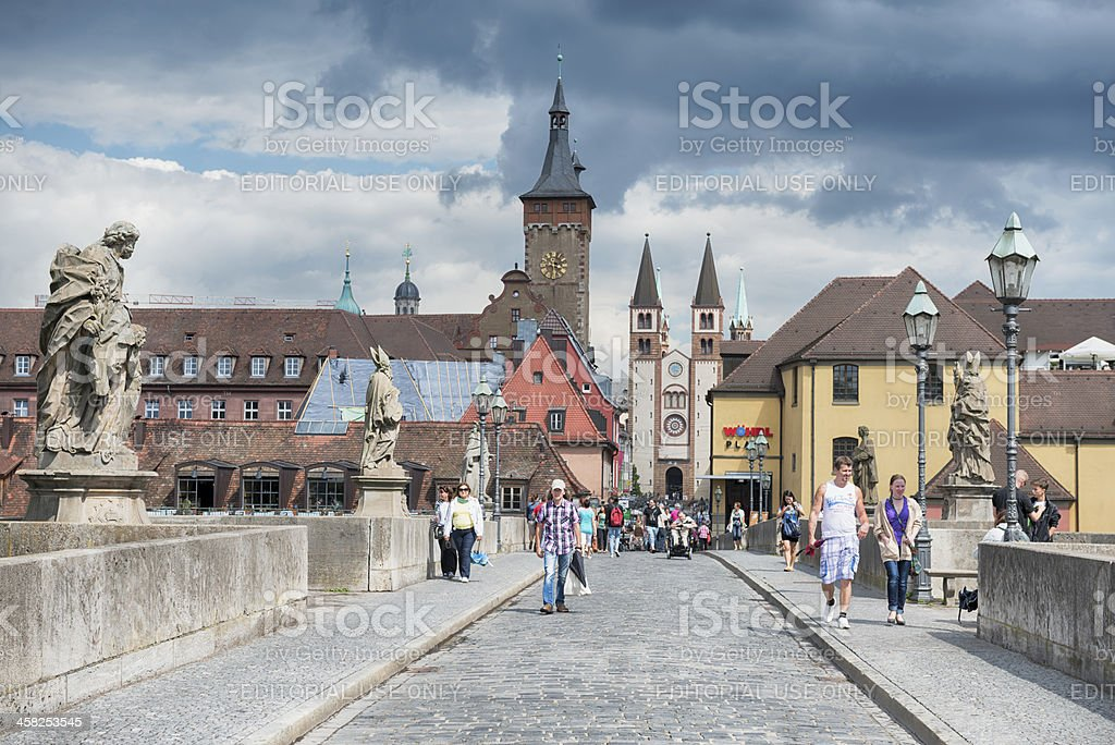 Alte Mainbrücke Wurzburg Lower Franconia Germany stock photo