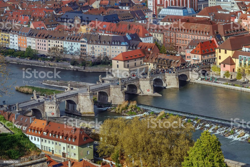 Alte Mainbrucke (old bridge), Wurzburg, Germany stock photo