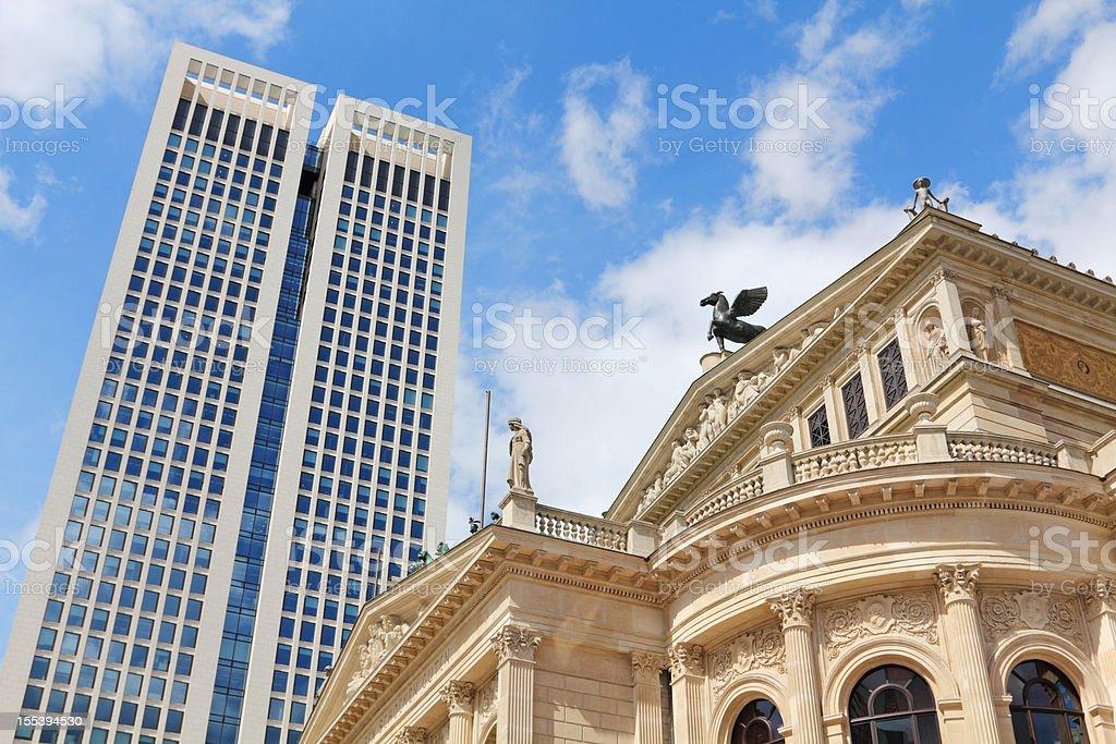 Alte Oper and skyscraper, Frankfurt/M, Germany stock photo