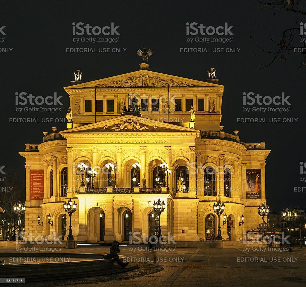 Alte Oper at night  in Frankfurt stock photo