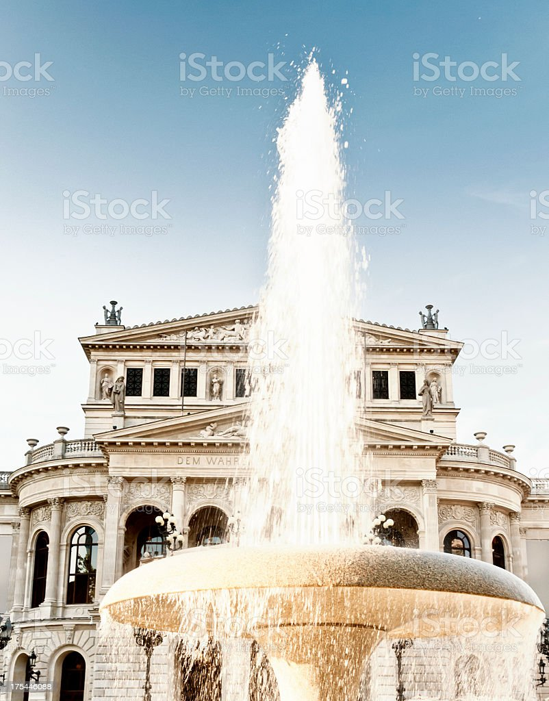 Alte Oper with fountain in Frankfurt am Main stock photo