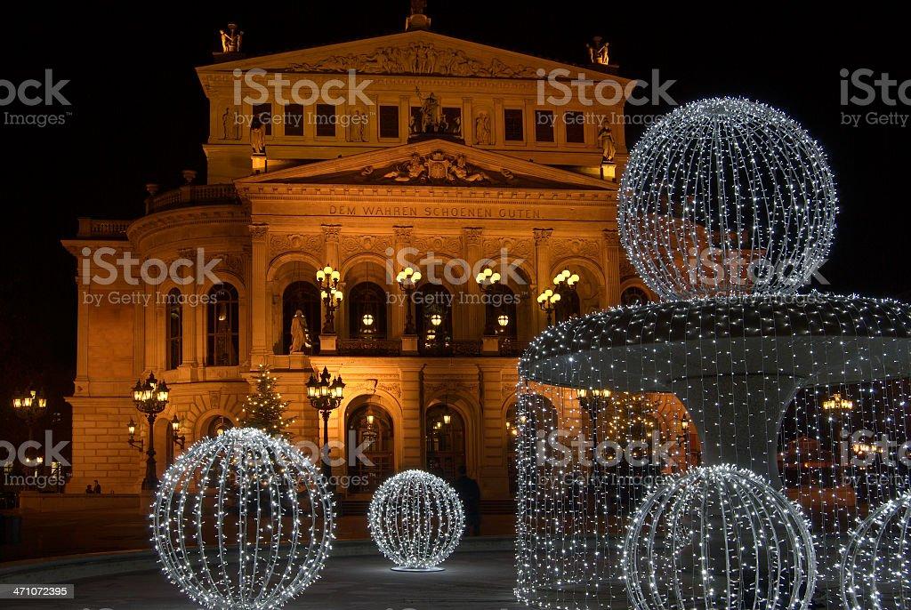 Alte Oper with illuminated fountain stock photo