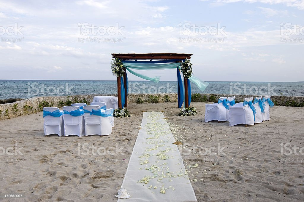 Alter and Chairs for Tropical Beach Wedding, Empty, Copy Space royalty-free stock photo