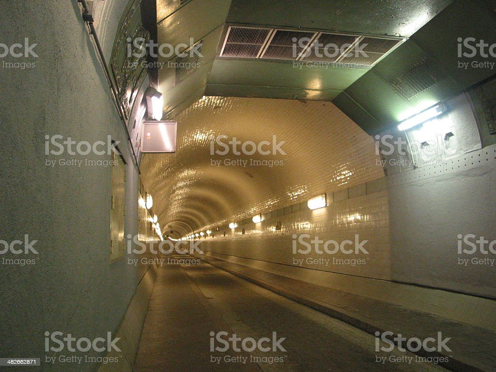 Alter Elbtunnel: old tunnel below the Elbe River stock photo