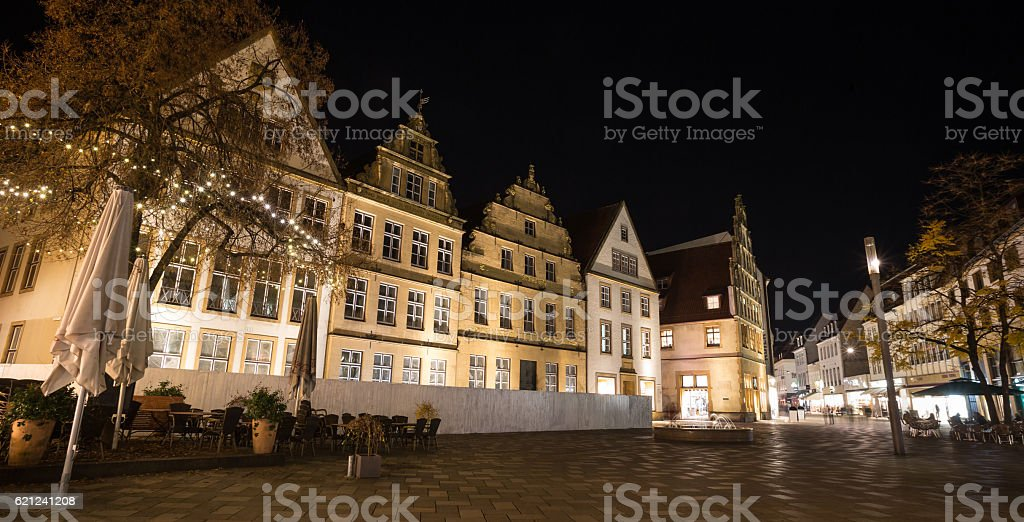 alter markt bielefeld germany at night stock photo